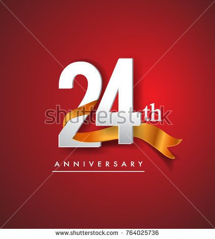 24th anniversary logotype with golden ribbon isolated on red elegance background, vector design for birthday celebration, greeting card and invitation card.