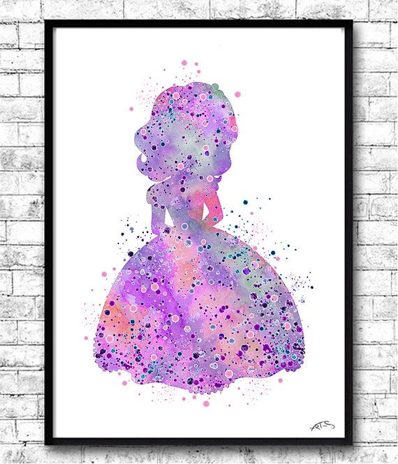 Princess Sophia The First Watercolor Print Purple