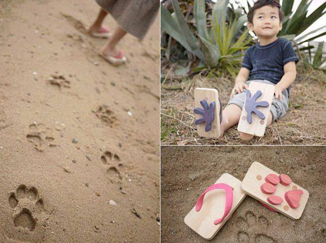 Cool animal tracks flip flops