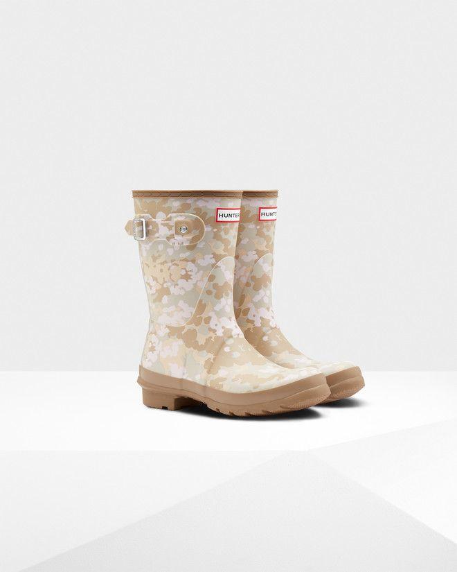 Womens Brown Short Flecktarn Camo Rain Boots   Official Hunter Boots Store