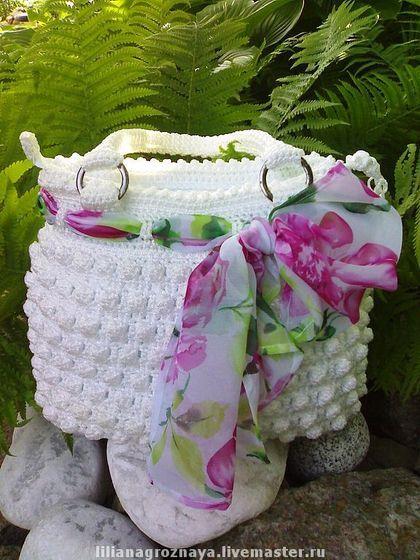 СУМКА АНЖЕЛИКА - вязаная сумка,авторская сумка,сумка крючком,Белая лтняя сумка