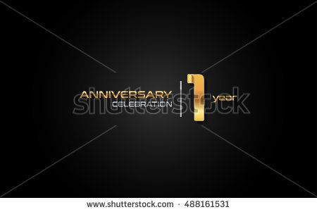 1 year gold anniversary celebration logo, isolated on dark background