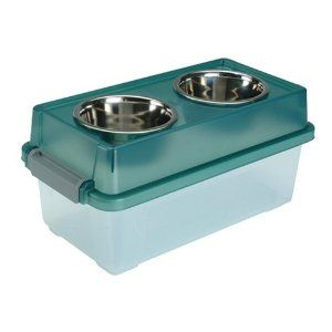 elevated food storage bowl for the doggies!  great idea for travel!