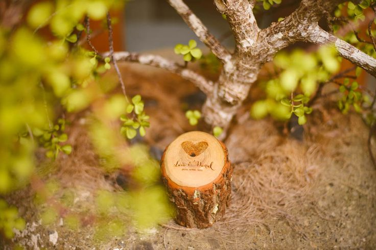 Our ring bearer box was carved from a fallen Sassafras branch and then engraved locally in Sydney with Daniel and Lava's actual fingerprints on it in a heart shape.