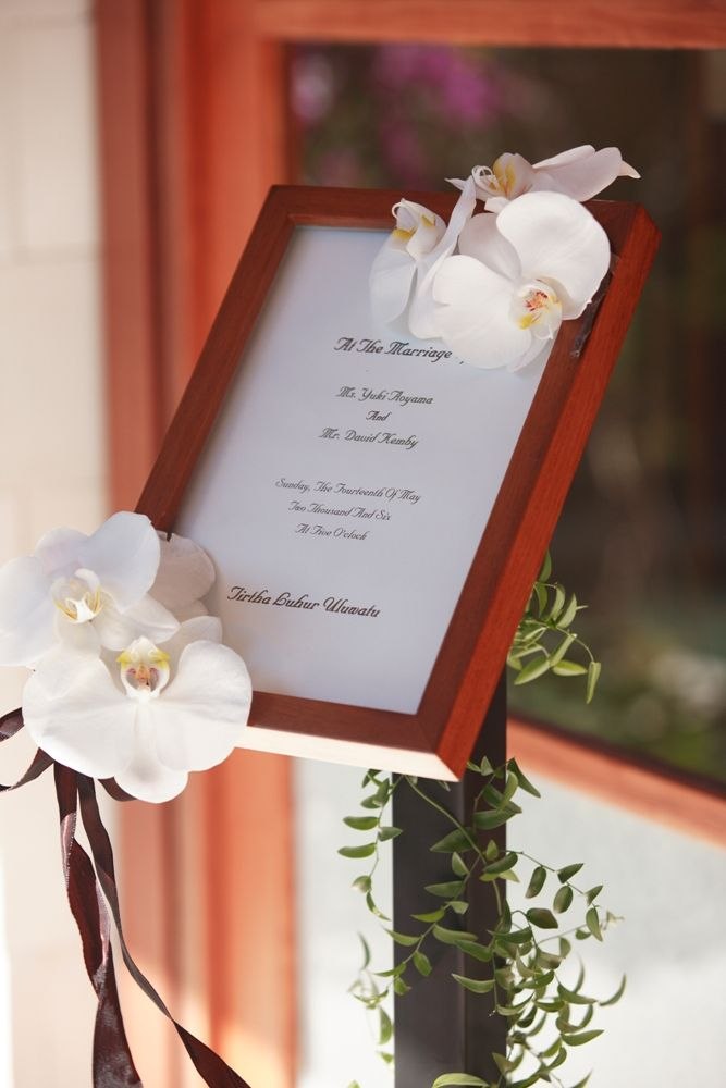 Welcome board with Orchid by Tirtha Bridal Uluwatu Bali
