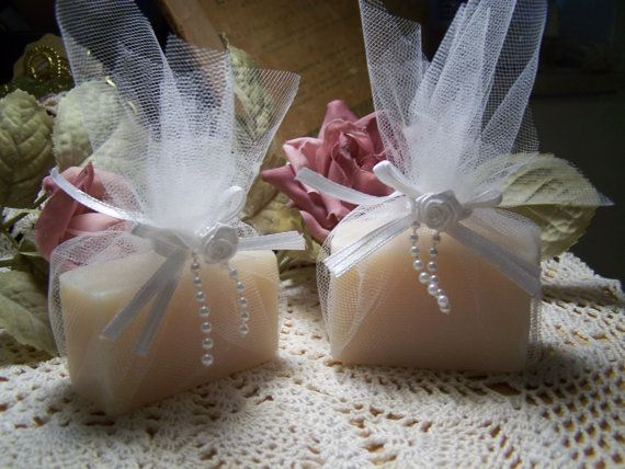 30 BRIDAL SHOWER  favor soaps - Shea butter, organic,  handmade soap -. $55.00, via Etsy.