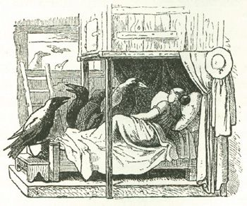 Die sieben Raben, Illustration von Ludwig Richter