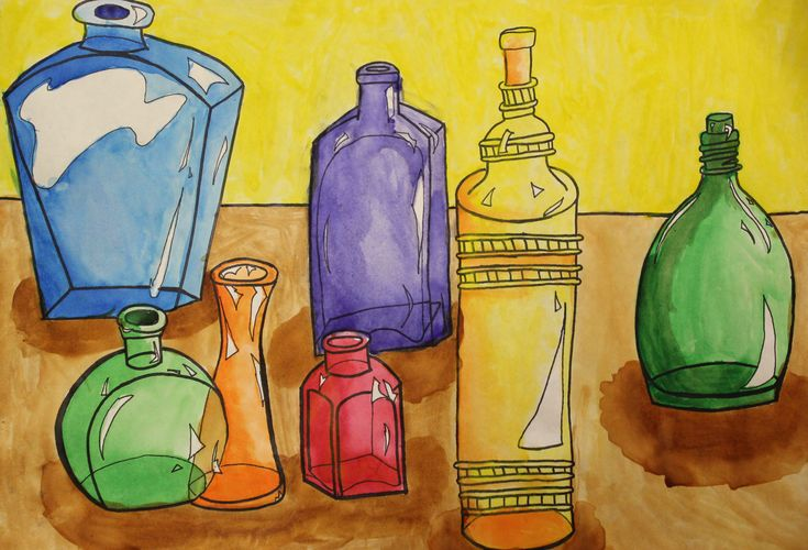 8th grade watercolor bottle painting