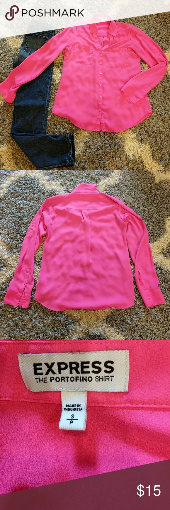 ??Hot Pink Express Portofino shirt Hot pink button down Portofino shirt from Express.  Has two front pockets and buttons on sleeves to cuff up the sleeves.  Great for the office.  100% polyester and machine washable.  Has a few stray strings around the button holes. Express Tops Button Down Shirts