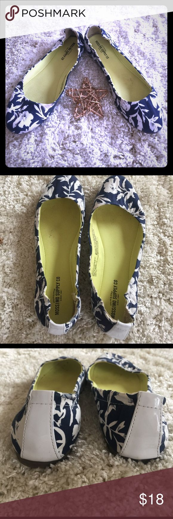 Classic Floral Ballet Flats Perfect for Spring! Classic navy blue and ivory pairs well with everything! Nonslip rubber soles with cotton material and elastic stretch heels make these extremely comfortable. Patent leather white detail on back. Will be freshly laundered before shipping! A generous 7.5. Open to trades! Merona Shoes Flats & Loafers
