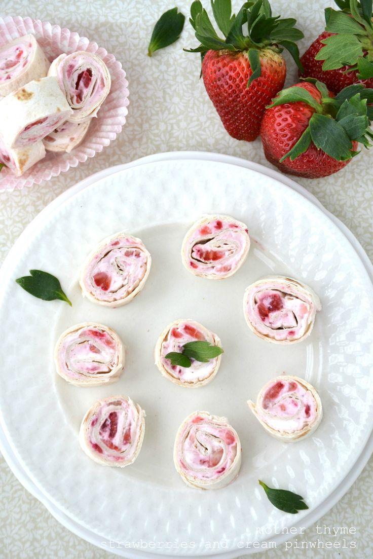 Strawberries and Cream Pinwheels     8 oz. cream cheese   1 C. strawberries   Pinch of cinnamon   4-5 tortillas  (Maybe add a little powdered sugar to the cream cheese)