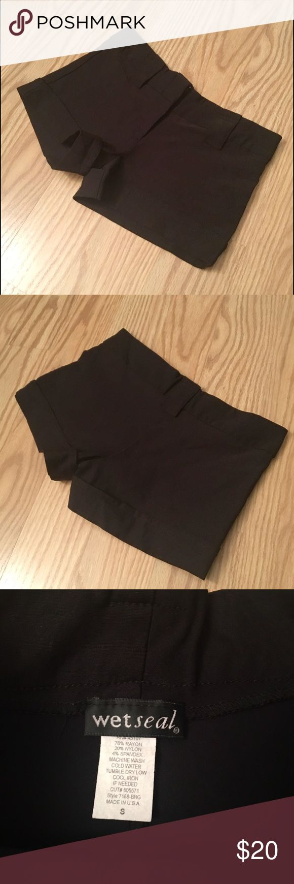 """WET SEAL black stretch shorts WET SEAL black stretch cuffed shorts 