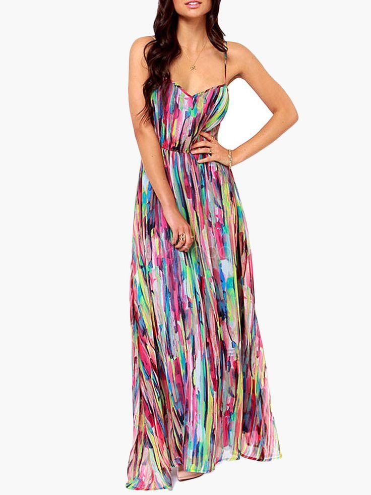 Multi Color Tie Dye Long Slip Dress - Milanoo.com