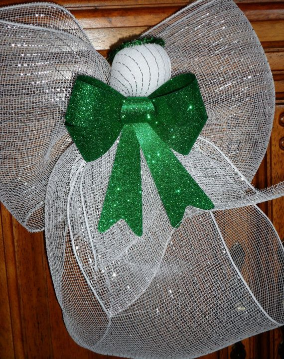White Deco Mesh Angel with Green Bow by CraftsGaloreEtc on Etsy