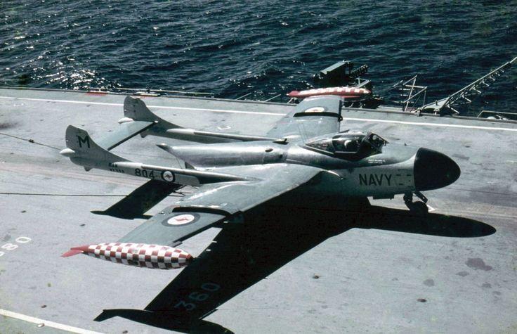 de Havilland Sea Venom Royal Australian Navy on board the aircraft carrier HMAS Melbourne