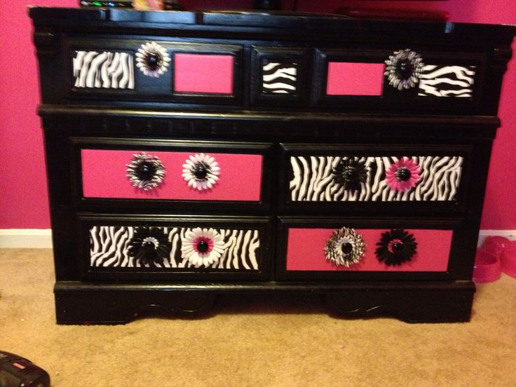Zebra and Pink finished Dresser