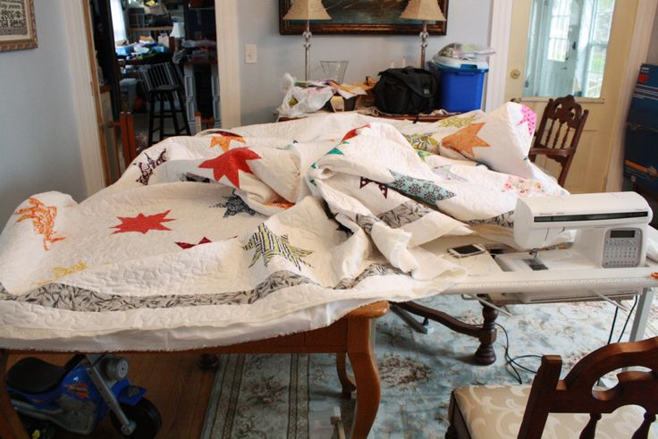 Quilting a king-sized quilt on a regular sewing machine.