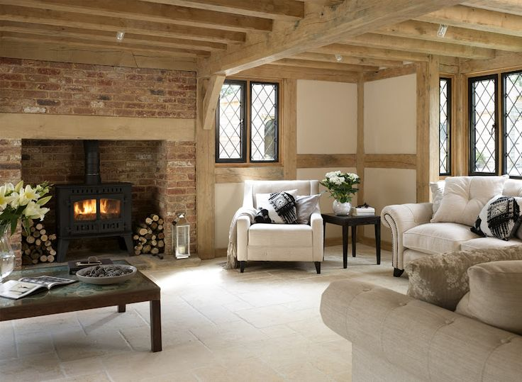 light beams not a full ceiling's worth, different windows, soft light brickwork for fireplace..