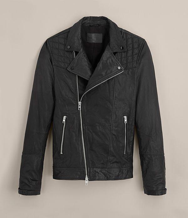 Men's Kushiro Leather Biker Jacket (Black) - product_image_alt_text_8