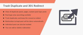 Trash Duplicate and 301 Redirect WordPress plugin can find and remove duplicate content. It permanently redirect removed content URL to main URL to divert traffic to one URL and be safe from being penalized by google for duplicate content. #WordPressPlugin #TrashDuplicateAnd301Redirect