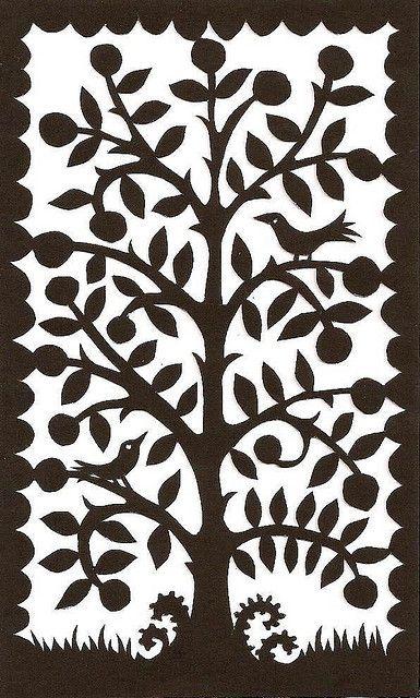 Folk art small tree with birds papercutting