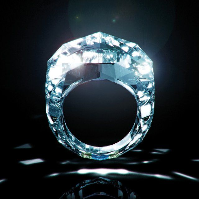 "The ""World's First All-Diamond Ring"" weighs in at 150 carats and is made entirely out of a single cut and finished diamond. Approximately 68mln USD"