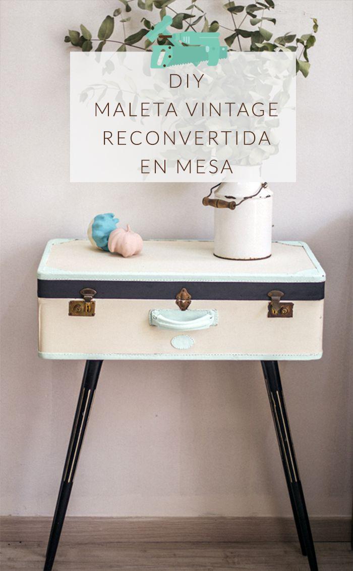 Maleta vintage reconvertida en mesa table diy for Maletas vintage decoracion