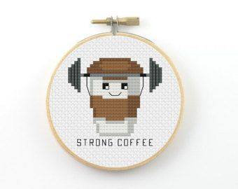 Cappurrrcino cross stitch pattern cappucinno pattern coffee