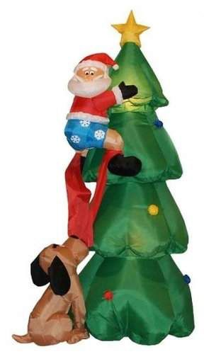 Three Posts Christmas Inflatable Santa Claus Climbing on Christmas