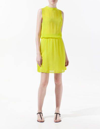 oh look! it's that neon dress you've been wanting $69.90: Limes Green Dresses, Style, Neon Yellow Dresses, Collars Zara, Neon Dresses, Mao Collars, Yellow Summer Dresses, Chiffon Dresses, Bright Colors