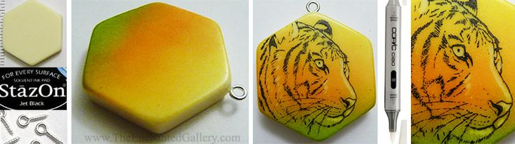 """Using a hexagon game tile, I drilled a small pilot hole for a screw eye, then scewed and glued it into place. Green, orange and yellow Stazon ink pads were sponged onto the surface of the game tile. I then rubber stamped the tiger image with jet black Stazon. The highlights were """"erased"""" away using an alcohol ink clear blender marker by Copic. Rubber stamps, ink pads, game tiles and other beads at www.TheEnchantedGallery.com"""