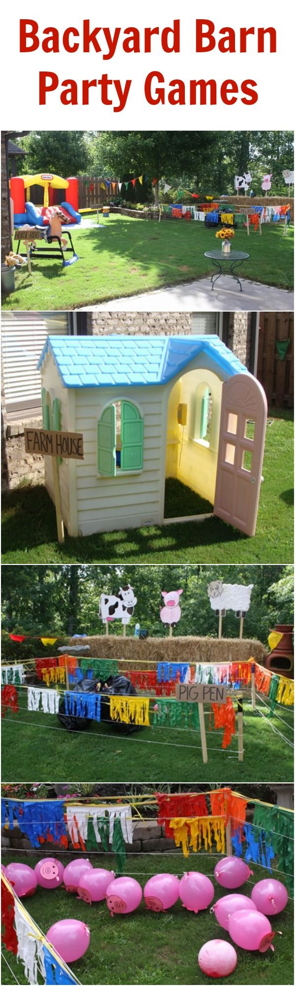 Fun barnyard games that you can play with stuff around your house! Perfect for a barnyard party or for plain old backyard fun!