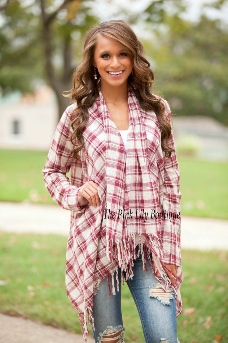 The Pink Lily Boutique - The Western Way Plaid Cardigan Red , $36.00 (http://thepinklilyboutique.com/the-western-way-plaid-cardigan-red/)