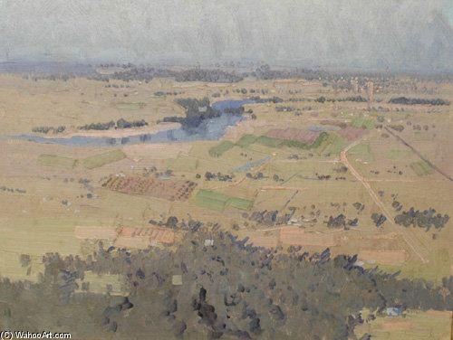 Étude de Nepean River Landscape de Elioth Gruner (1882-1939, New Zealand)