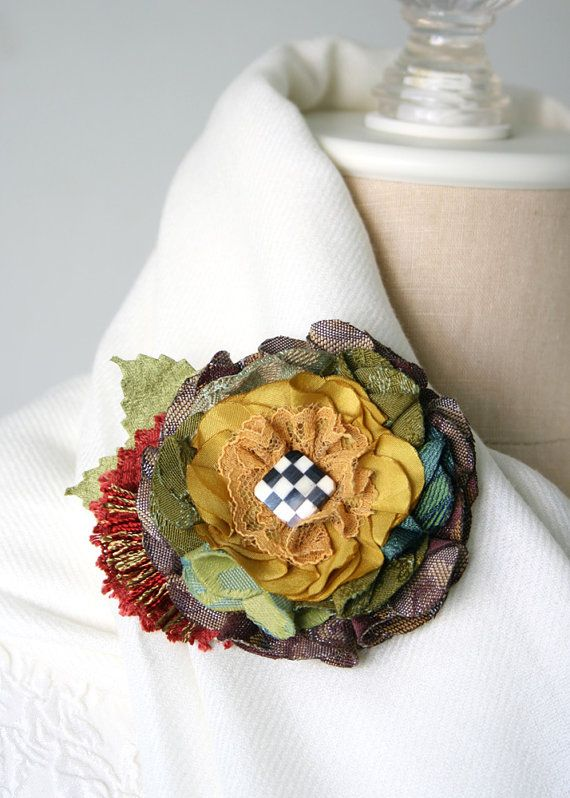 Unique Gift for Women and Girls, Colorful Fabric Flower Brooch Pin with Checkerboard Button