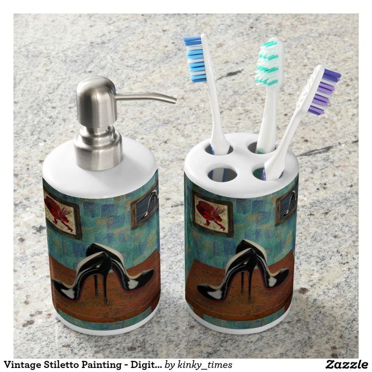 Vintage Stiletto Painting - Digital Art Bathroom Set