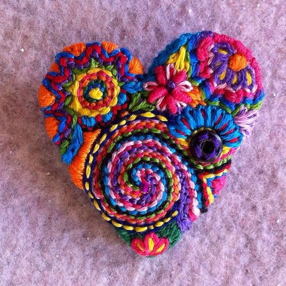 Freeform embroidery bright floral Heart brooch by Lucismiles