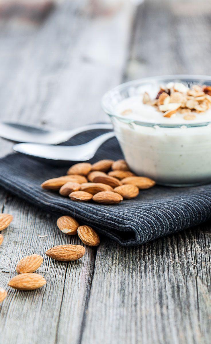 Homemade #vegan_Yogurt from #DairyFree Almond Milk - any nut milk should work, store bought or homemade. No yogurt maker required.