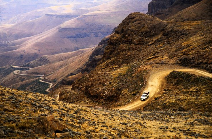 Situated between Lesotho and KwaZulu-Natal, a coastal South African province, Sani Pass begins at 5,100 feet and climbs to an elevation of 9,436 feet. Built in 1950, the route has become famous both for its awe-inspiring scenery as well as its difficult road conditions in bad weather.