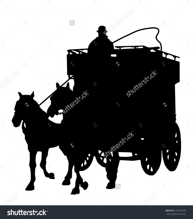 horse and wagon silhouette. carriage silhouette with a horse stock vector illustration . and wagon