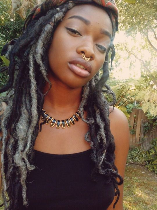bestofebonygirls:  Bull nose ring, grey and black faux locs hairstyle…Check our locs hairstyles collection…