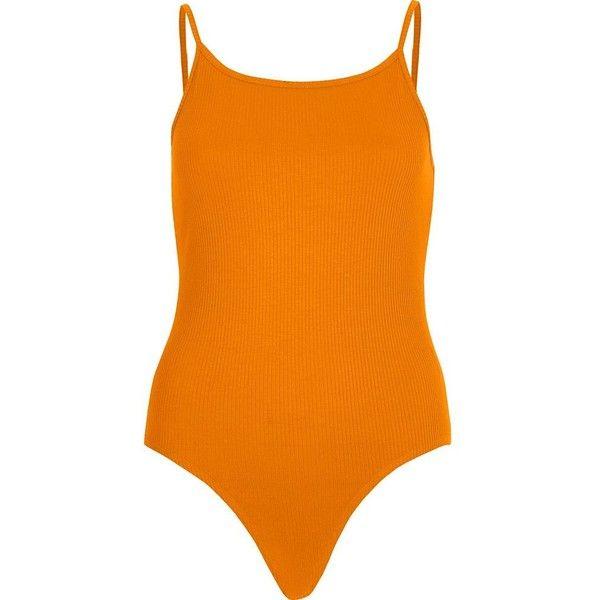 River Island Orange strappy bodysuit (370 RUB) ❤ liked on Polyvore featuring intimates, shapewear, orange and tops