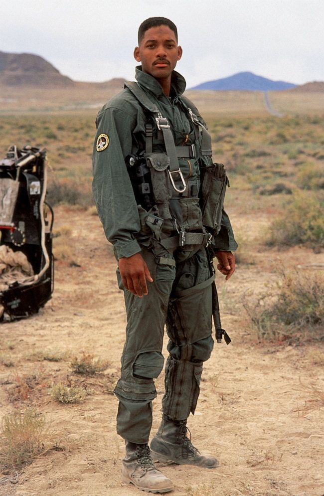 Independence Day - 1996 - Will Smith as Captain Steven Hiller.  This iconic costume from the film was featured at the Victoria and Albert Museum in London and Los Angeles at the first exhibit of the new Academy of Motion Picture Museum.  This show made Will Smith a superstar.  #josephporrodesigns