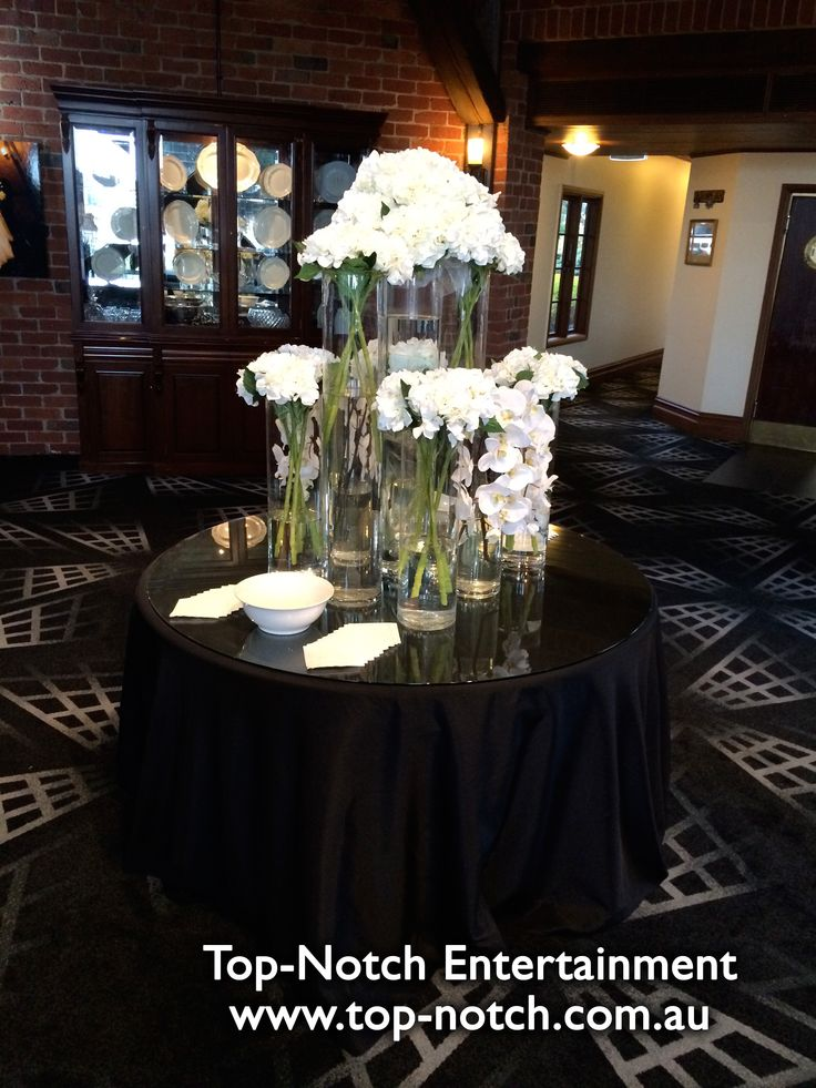 A floral/flower arrangement in the pre dinner drinks foyer at Windmill Gardens Receptions, Plumpton, Victoria.  www.top-notch.com.au  www.facebook.com/WeddingDJTopNotch