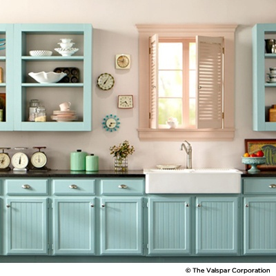 Tropical Bay (5002-3C) on kitchen cabinets.  I love these colors!  Might have to do a pink wall!