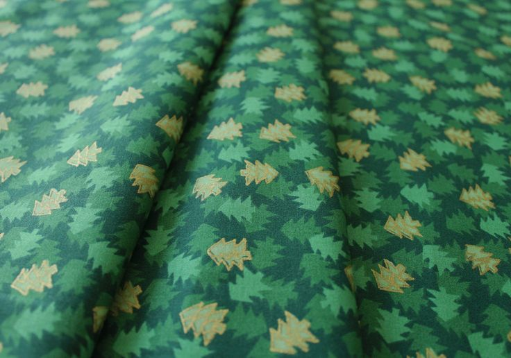 Ho Ho Ho Christmas Trees Allover Green/Metallic