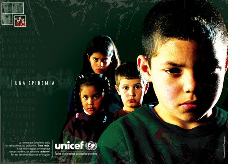 Read more: https://www.luerzersarchive.com/en/magazine/print-detail/unicef-21483.html Unicef A flood. Pay-off: Some people think that Unicef only works in countries where catastrophes take place. That´s right. Each Uruguayan child which can not practise his or her rights suffers a catasrophe. That´s why we also work in Uruguay - all rights for all children. Tags: Unicef,Corporation JWT (J. Walter Thompson), Montevideo,Sebastian Rubio,Laura Charpantier,Domino, Montevideo