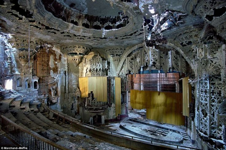 The United Artists Theater in Detroit, derelict and open to the elements. Detroit has suffered economically more than any other major U.S. city