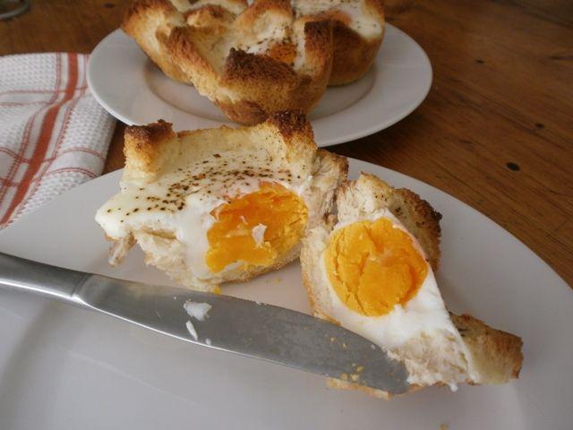 #baked_eggs_in  bread bird nests
