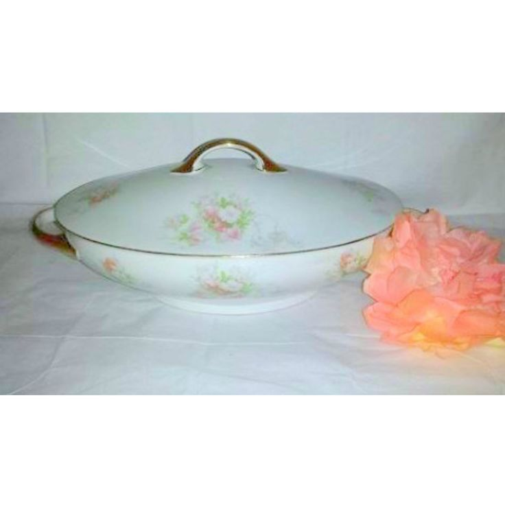 Antique Jaeger & Co,  Trianon Bavaria, Porcelain China, Oval Serving Bowl with Lid, Circa 1898,  Pink Floral and Gold Gilt by JunkYardBlonde on Etsy